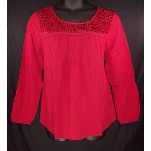 NEW St. John's Bay 1X Red Velour Detail Top